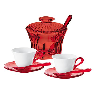 Set 2 tazzine caffè Guzzini Belle Epoque con zuccheriera, piattini e cucchiaini, rosso
