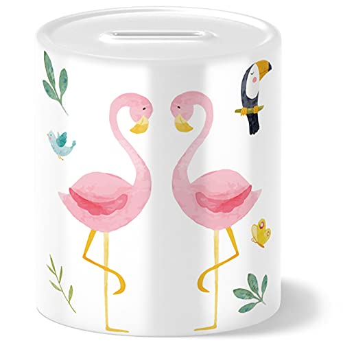 OWLBOOK Hucha con diseño de flamenco de safari, regalo para niños, bebés, niñas, cumpleaños, Navidad, graduación, bautizo, nacimiento, hucha