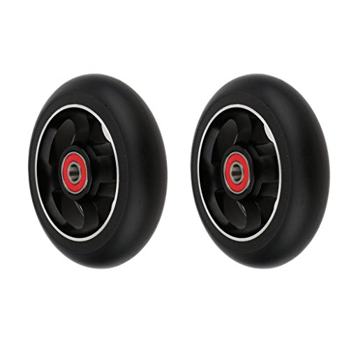 Toygogo 2 x Scooter Ersatzräder Aluminium Rollen Wheels, 100 x 24 mm - schwarz