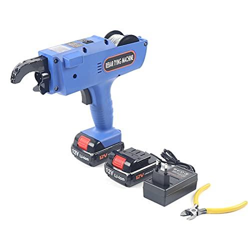 Rebar Tie Gun 8-34mm Rebar Tier Tying Machine Automatic Steel Bar Rod Tying Binding Tool Rebar Binding Tool Rechargeable Handheld Electric Tying Tools (Blue)