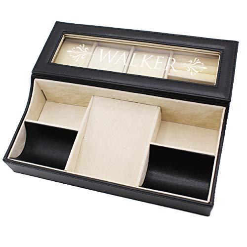 Personalized Leather Valet Tray Box - Custom Monogrammed Mens Dresser Organizer Catchall (Black)