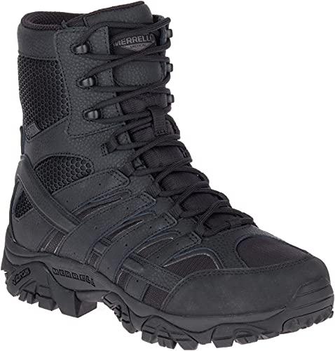 Merrell Mens Moab 2 8in Tactical Waterproof Boots, Black, 10.5, Medium Width