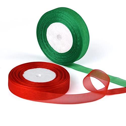 2 Pack Organza Linten 50 Yards Shimmer Sheer Satijn Lint Stof Lint Roll Christmas Home Decor Vakantie Decoratie