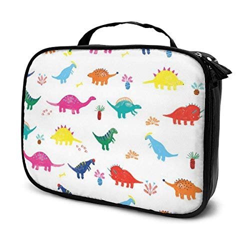 Estuche cosmético de viaje colorido dinosaurio mariposa libélula, organizador portátil de gran capacidad, bolsa de maquillaje, bolsa de almacenamiento para artistas, accesorios de aseo