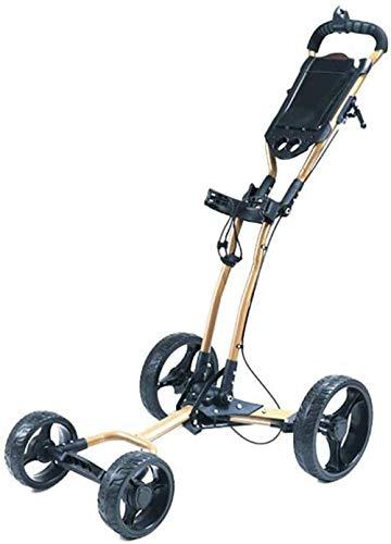 LJ Golfwagen, Trolleys, Golfwagen Cart 4 Räder Zugwagen mit Kesselständer Anzeigetafel Golfwagen Leichter Wagen Einfach zu tragen und mit Sitzschirm zu falten Ständer Cup Cup Holder Blac-,Gold