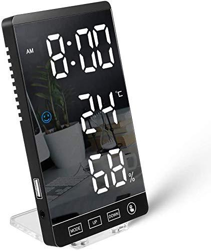 デジタル時計 LEDデジタル 目覚まし時計 置き時計 LED鏡面表示 カレンダー 快適度 温度 湿度表示 アラーム 12H/24H切替 省エネ 日本語説明書