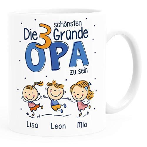 SpecialMe® Kaffee-Tasse Die schönsten Gründe Opa zu sein personalisiert mit Namen 1,2,3,4 Kinder Geschenk für Opa Opa weiß Keramik-Tasse