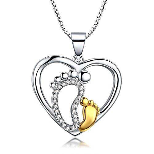Herz Halskette Anhänger 925er Sterling Silber Mutter & Baby Füße Kette Damen Zirkonia Geschenk für Frauen Mädchen Muttertags Geschenk