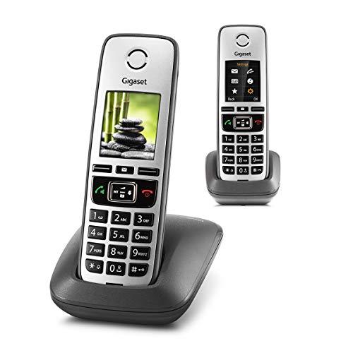 Gigaset Family – 2 schnurlose Telefone mit großem, farbigem Display und hoher Reichweite – anthrazit-grau