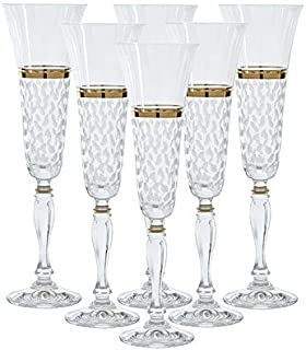 Glazze Crystal Set of 6 Handcrafted Bohemian-Crystal Champagne Flute Glasses with Hand Painted Real Gold Detailing   Hand Cut Raindrops Pattern   Unique Luxurious Gift for Men and Women