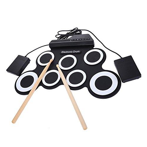 Gaoominy 7 Pads tragbar Digital USB Aufrollen Faltbare Silikon Elektronische Drum Pad Kit Mit Trommelstoecke Fusspedal