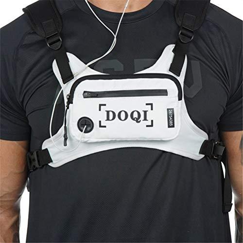 AMZDOQI Diebstahl-sicher Brusttasche Herren Damen Wasserdicht Klein Lauftasche für Outdoor Sport Jogging Trainning Fitness (Weiß)