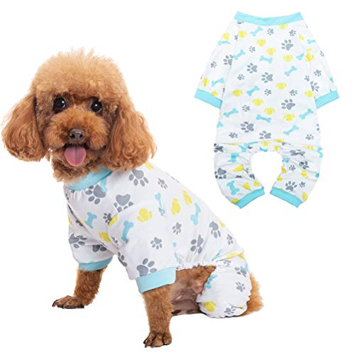 BINGPET Pet Pajamas for Dogs - Puppy PJS Shirt for Sleeping in Summer, Soft Comfortable Doggy Clothes, Dog Jumpsuit with Cute Bone and Footprint Pattern for Indoor Small Medium Dogs