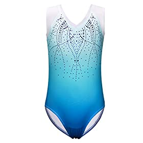 Gymnastics Leotard For Girls Shiny Diamond Practice Dancewear B182blue4a