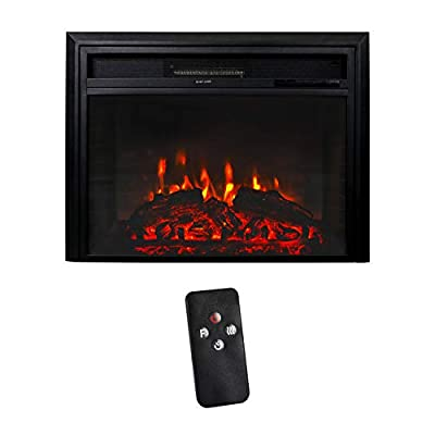 Peachtree 28 Inches Electric Fireplace Wall Recessed Heater Remote Control, Log Sets, 750/1500W, Black
