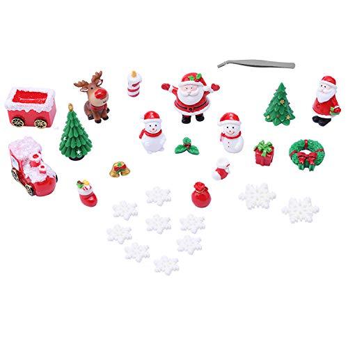 28 PCS Christmas Miniature Ornament Kits, Mini Xmas Style Figurines Santa Claus Snowman Christmas Tree Cute Cartoon Xmas Decor for DIY Fairy Garden Dollhouse Decor Desktop Decoration (#B)
