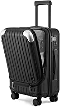 """LEVEL8 Carry-On Luggage, Hardside Suitcase, 20"""" Lightweight ABS+PC Hardshell Spinner Trolley for Luggage with Built-In TSA Lock, 8 Spinner Wheels, Black, 20-Inch Carry-On"""