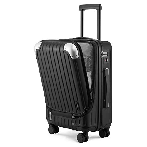 LEVL8 Luggage Hardside Suitcase Carry-on 20-Inch PC+ABS with Spinner Wheels, TSA Lock - Black