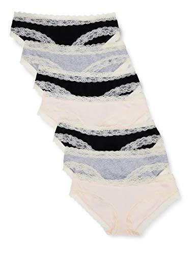 Amazon-Marke: Iris & Lilly Damen-Hipster aus Baumwolle mit Spitze, 7er-Pack, Multicolour (Black/Melange/Soft Pink), XL, Label: XL