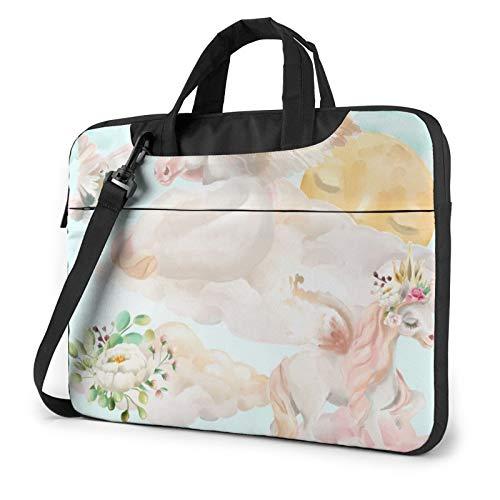 Borsa a tracolla per computer portatile - Unicorns stampato antiurto impermeabile borsa a tracolla zaino borsa borsa borsa borsa borsa, Nero (Nero) - 259841-Black-136