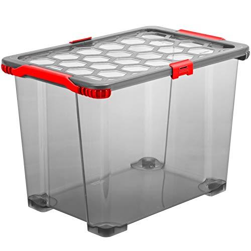 Rotho Evo Total Aufbewahrungsbox 65 l, Kunststoff (PP), Anthrazit/Rot, 65 Liter (59 x 39,5 x 41,2 cm)