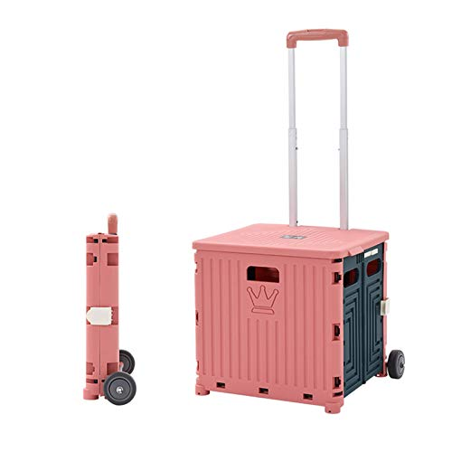 ZDAMN Carro con Carro Plegable Compras Picnic Cart Camping Trolley Portátil Escalera Escalera Portátil Trolley Plegable Carro al Aire Libre para Acampar (Color : Pink, Size : One Szie)
