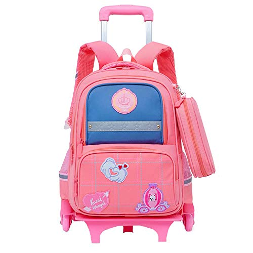 Rolling Backpack for Kids, Trolley Bags for Kids School Travel Laptop Books Multifunction Wheeled Backpack Luggage GWBI-Pink1