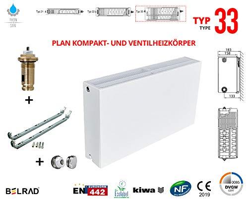 Planheizkörper Mittelanschluss Kompakt & Ventilheizkörper Typ 22 33 & Halter & Ventil NEU Typ33 500x1400