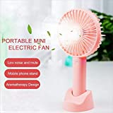 Mini Handheld Portable Fan USB Rechargeable Built-in Battery Operated Summer Cooling Desktop Fan with Standing Holder Handy Base for Home Office Outdoor Travel