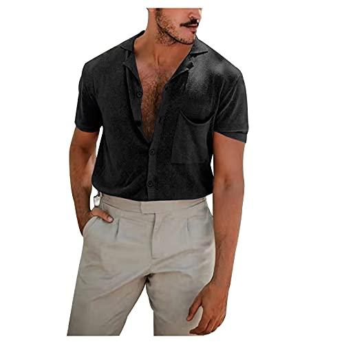 YUTING Camisa de manga corta para hombre, de verano, informal, de lino, monocolor, de manga corta, corte ajustado, para negocios Negro XL