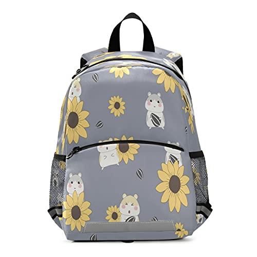Mochila para niños con hámster y girasol, mochila escolar para niños pequeños
