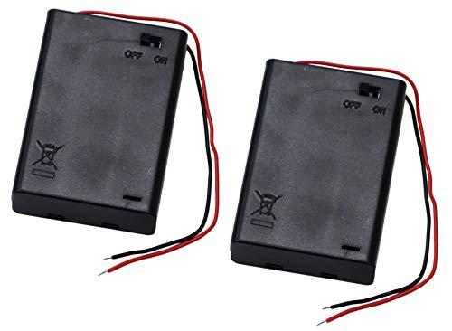 単3電池(AA形)用 3個タイプ バッテリーホルダー ON/OFFスイッチ付き クローズタイプ 電池ケース 電池ホルダー リード線付き プラスチック製 (2個セット)