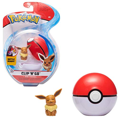 PoKéMoN Clip 'N' aGo Eevee Evoli & Pokéball, Enthält 1 5cm Figur & 1 Poké Ball, Neue Welle 2021, Offiziell Lizensiert