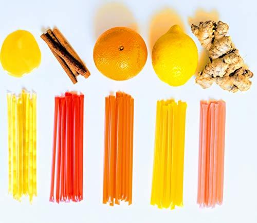 Homestead Flavored Honey Sticks (50 Pack), 5 Flavors Include Clover, Cinnamon, Orange, Lemon, Ginger, Pure American Honey Stix with Essential Oils for Taste