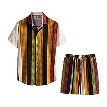 LBL Men s Linen Summer Beach Sweatshirt Set for Short Pants Stripe XL