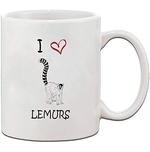 Ich liebe Herz Lemuren Keramik Kaffee Tee Becher Tasse 330 ml Urlaub kleines Geschenk für Männer und Frauen