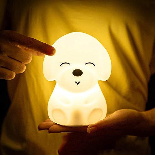 Colorido perro LED luz de noche luz de animal USB recargable silicona suave dibujos animados tacto luz niños noche lámpara dormitorio luz