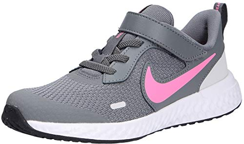 Nike Revolution 5 (PSV) Running Shoe, Smoke Grey/Pink Glow-Photon Dust-White, 32 EU