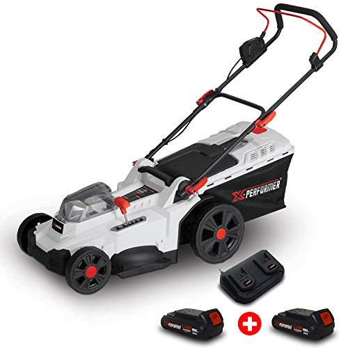 X-performer Tondeuse à Gazon portative sur Batterie - 40V Max - Hauteur de Coupe 6 Positions - avec 2 Batteries 2Ah et Double chageur