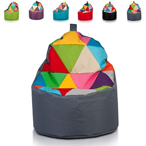 Ecopuf Yoko Mix Sitzsack Patchwork - Tragbare Beanbag aus Polyester mit Anti-Verlust Reißverschluss