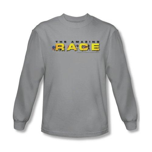 Amazing Race - Männer Laufschuh Logo Langarm-Shirt in Silber, XX-Large, Silver