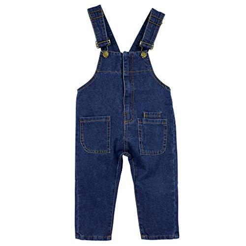 Niños Bebé Pantalones de Peto Vaqueros Overalls Pantalón Largo Ajustable 12-18 Meses