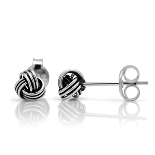 925 Oxidized Sterling Silver Tiny Love Knot 5 mm Post Stud Earrings