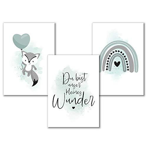Aquarell Kinderzimmer Poster Mint für Mädchen oder Jungen mit Spruch und Regenbogen, Tierbilder Babyzimmer Bilder Tiere Set, Kunstdruck Kinderbilder