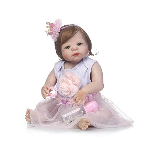 iCradle Bambole 23 Pollici 57 cm Corpo in Silicone Pieno Silicone Vinile Reborn Baby Dolls Sembra Reallife Bebe Reborn Girl Dolls Giocattoli per Bambini Regali da Collezione