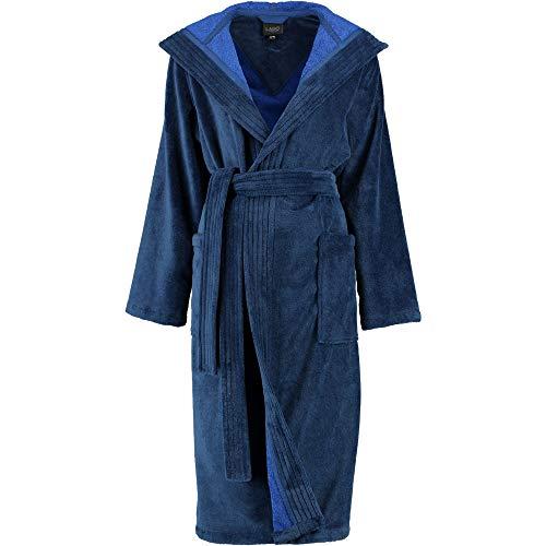 Michaelax-Fashion-Trade Lago - Damen Velours Bademantel mit Kapuze (802), Größe:48/50, Farbe:Blau (11)