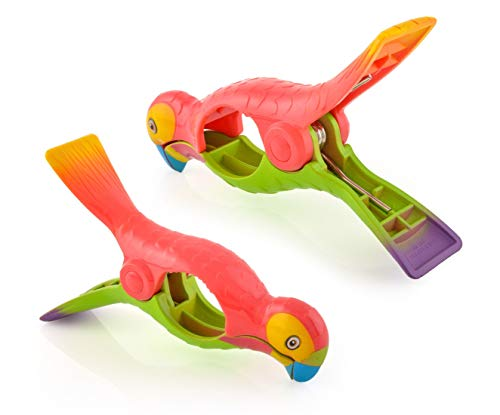 O2COOL Parrot BocaClips, Beach Towel Holders, Clips, Set of Two, Beach, Patio or Pool Accessories, Portable Towel Clips, Chip Clips, Secure Clips,...