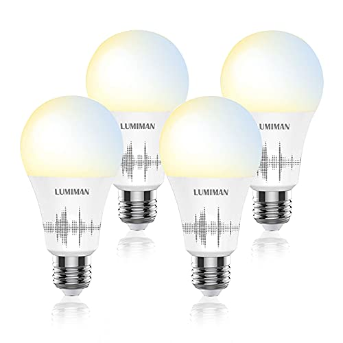 Alexa WiFi Light Bulb, LUMIMAN Dimmable Smart Bulb Works with Alexa and Google Home, Warm White to Daylight White 800 Lumen 2700K-6500K Dimmable A19 E26 LED Lights Bulbs, 7W (60W Equivalent), 4 Pack