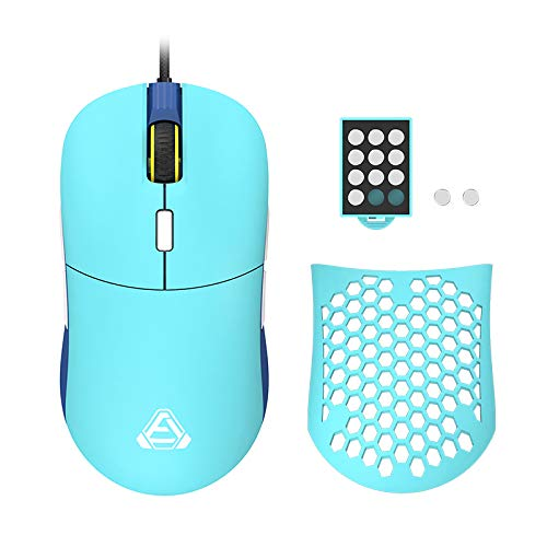 AJAZZ F15 Gentiana Gaming Mouse with Replaceable Honeycomb Shell, RGB Backlit, 16000 DPI, Programmable 8 Buttons, Symmetrical Shape with Side Buttons on Both Sides for Left and Right Hands, Cyan