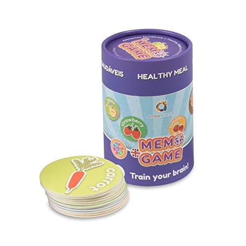 ambarscience- Memo Games Alimentos Saludables - Juego de Memoria Educativo para Buscar Las Parejas y Aprender Las Palabras en inglés,con 40 Piezas, para niños 3+. (Ambar Passion S.A. 6162800010020)